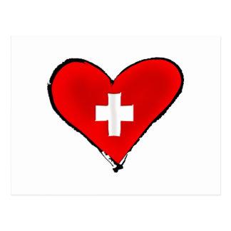 Carte Postale J'aime les cadeaux suisses de conception de coeur
