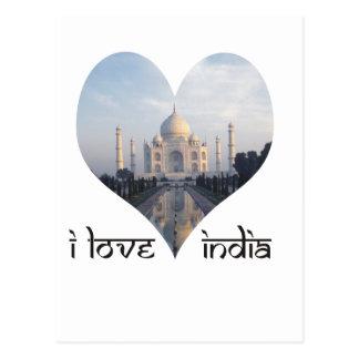 Carte Postale J'aime l'Inde avec le Taj Mahal
