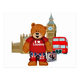 Carte Postale J'aime Londres - ours de nounours