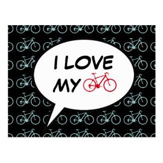 Carte Postale j'aime ma bande dessinée de vélo