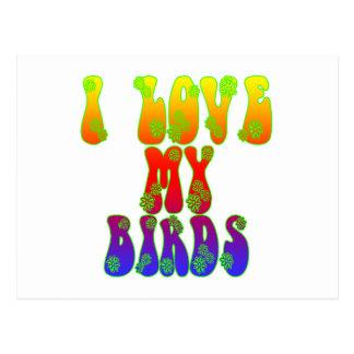 Carte Postale J'aime mes oiseaux