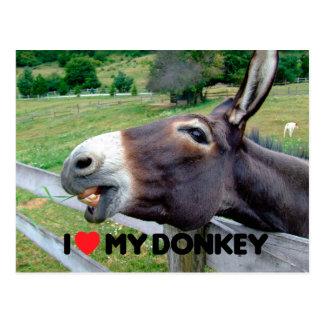 Carte Postale J'aime mon animal de ferme drôle de mule d'âne