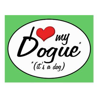 Carte Postale J'aime mon Dogue (c'est un chien)
