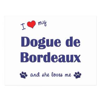 Carte Postale J'aime mon Dogue de Bordeaux (le chien femelle)