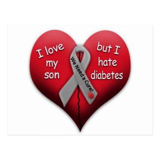 Carte Postale J'aime mon fils mais déteste le diabète