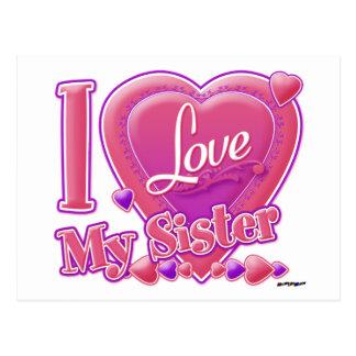 Carte Postale J'aime mon rose de soeur/pourpre - coeur