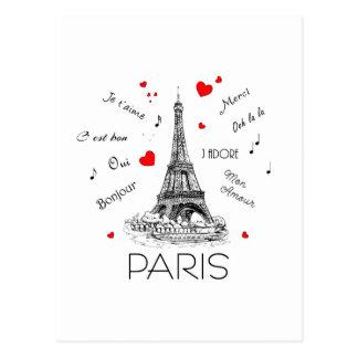 Carte Postale J'aime Paris, intrigue amoureuse de lundi