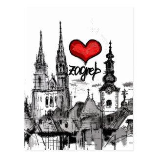 Carte Postale j'aime Zagreb
