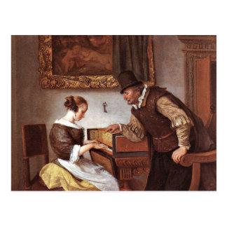 Carte Postale Janv. Steen - la leçon de clavecin