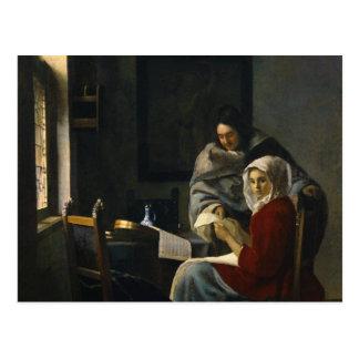 Carte Postale Janv. Vermeer - fille interrompue à sa musique