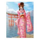 Carte Postale Japanese pink kimono