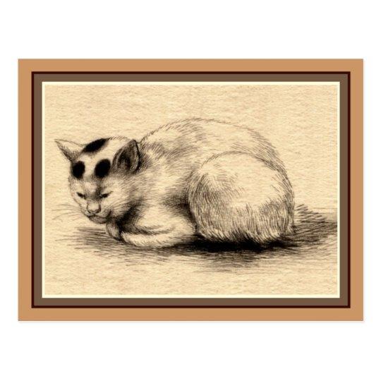 Carte postale japonaise de dessin d'encre de chat | Zazzle.fr