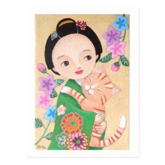 Carte postale japonaise de geisha et de chat