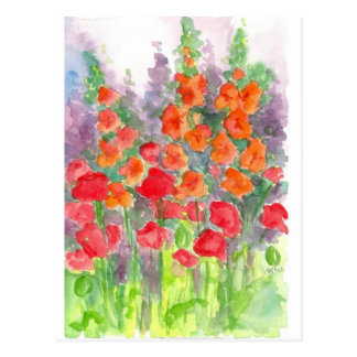 Carte Postale Jardin orange rouge d'aquarelle de fleur de