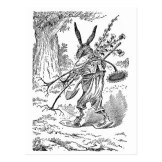Carte Postale Jardinier de lapin avec la pelle et les plantes
