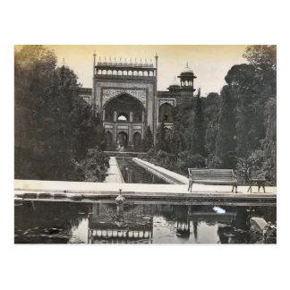 Carte Postale Jardins de l'Inde vintage, le Taj Mahal