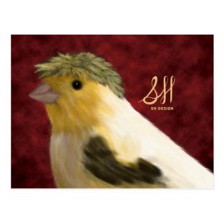 Carte postale jaune canari crêtée