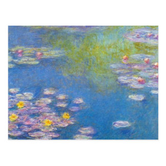 Carte postale jaune de nénuphars de Monet