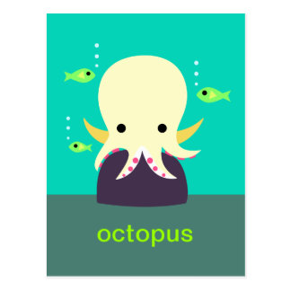 Carte postale jaune de poulpe