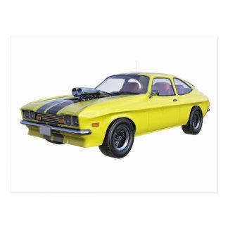 Carte Postale Jaune de voiture de 1970 muscles avec la rayure