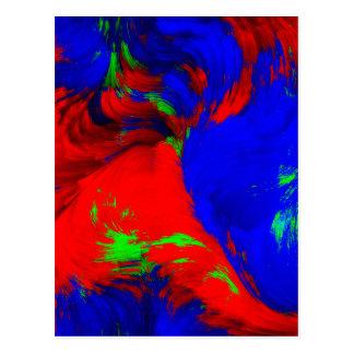 Carte Postale Jaune rouge de vert bleu de conception abstraite