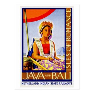 Carte Postale Java vintage et Bali Indonésie par des chemins de