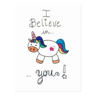 Carte Postale Je crois en VOUS ! Licorne