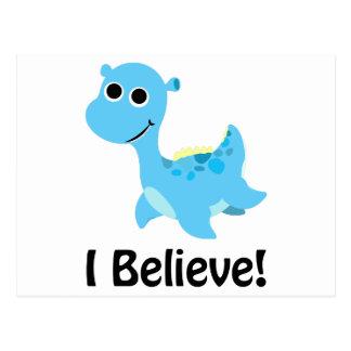 Carte Postale Je crois ! Nessie bleu mignon