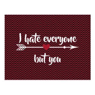 Carte Postale Je déteste chacun Saint-Valentin