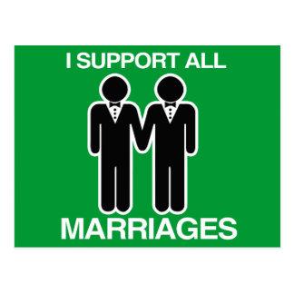 CARTE POSTALE JE SOUTIENS TOUS LES MARIAGES ÉGALEMENT GAIS -