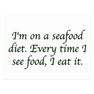 Carte Postale Je suis à un régime de fruits de mer