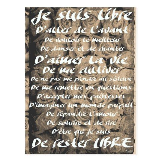 "Carte Postale ""Je suis Libre..."""