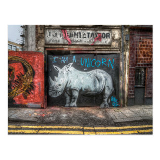 Carte Postale Je suis une licorne, graffiti de Shoreditch