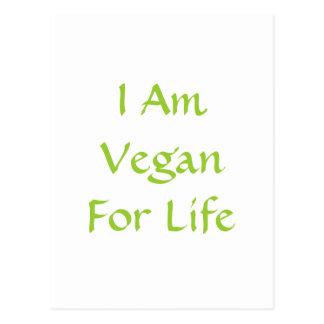 Carte Postale Je suis végétalien pendant la vie. Vert. Slogan.