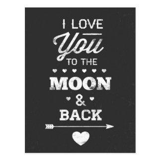 Carte Postale Je t'aime à la lune et au dos