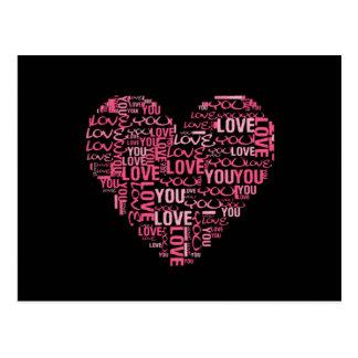 Carte Postale Je t'aime cadeau de Saint-Valentin de coeur de