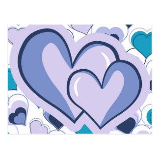 Carte Postale Je t'aime coeurs pourpres et bleus