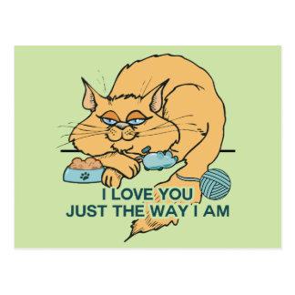 Carte Postale Je t'aime dire graphique de chat drôle