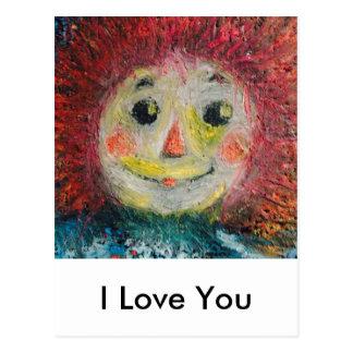 Carte Postale Je t'aime, poupée de chiffon