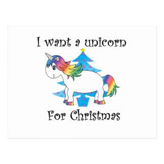 Carte Postale Je veux une licorne pour l'arbre de Noël bleu de