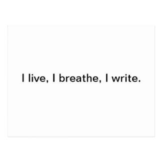 Carte Postale Je vis, je respire, j'écris