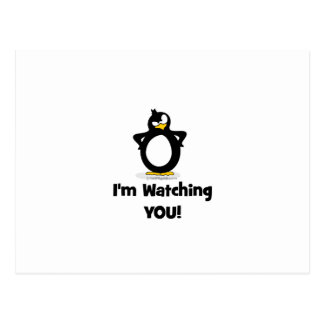 Carte Postale Je vous observe pingouin