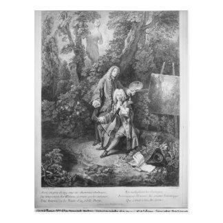 Carte Postale Jean Antoine Watteau et Monsieur d'ami