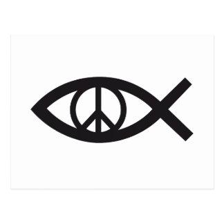 Carte Postale Jésus-Christ, symbole chrétien de poissons, signe