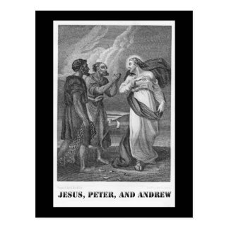 Carte Postale Jésus, Peter, et Andrew, lithographie du 19ème
