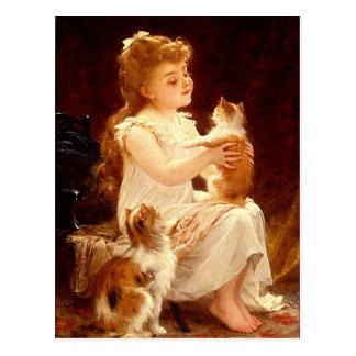 Carte postale :  Jeu avec le chaton
