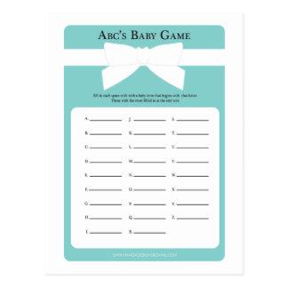 Carte Postale Jeu bleu élégant du baby shower d'ABC d'arc