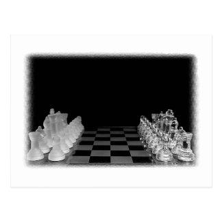 Carte Postale Jeu de société en verre éffrayant noir et blanc