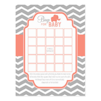 Carte Postale Jeu gris de corail de baby shower de bingo-test