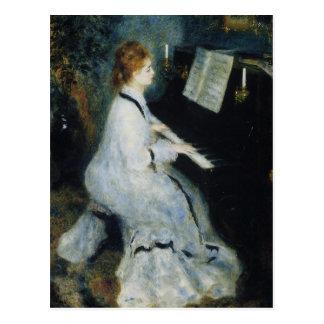 Carte Postale Jeune femme au piano par Renoir